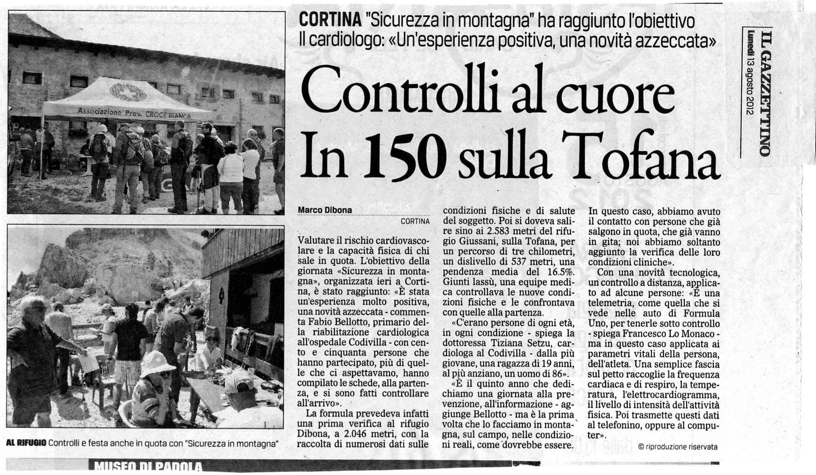 Articolo sul Gazzettino del 13 agosto 2012